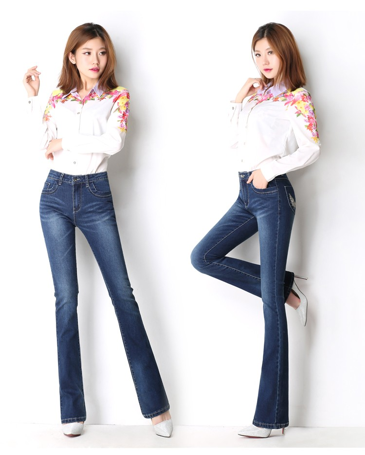 Autumn and winter new waist high waist jeans women wear white stretch large size Slim bell-bottoms with thin trousers 1