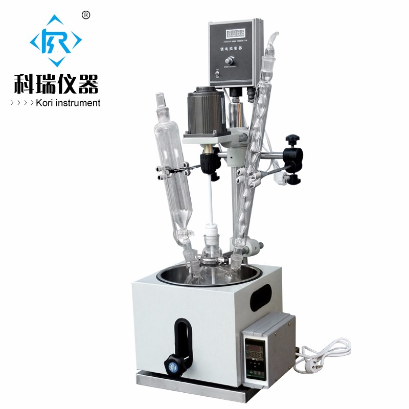 Electric heating Small Chemical Glass Benchtop Bioreactor / Reactor stirrer small type heating dual chemical reaction kettle 2l jacketed flask glass reactor with teflon stirrer