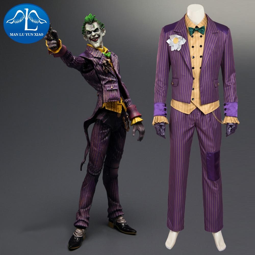 MANLUYUNXIAO Batman Arkham Asylum Joker Cosplay Kostym Herr Kostym Halloween Joker Kostym För Vuxen Full Set Custom Made