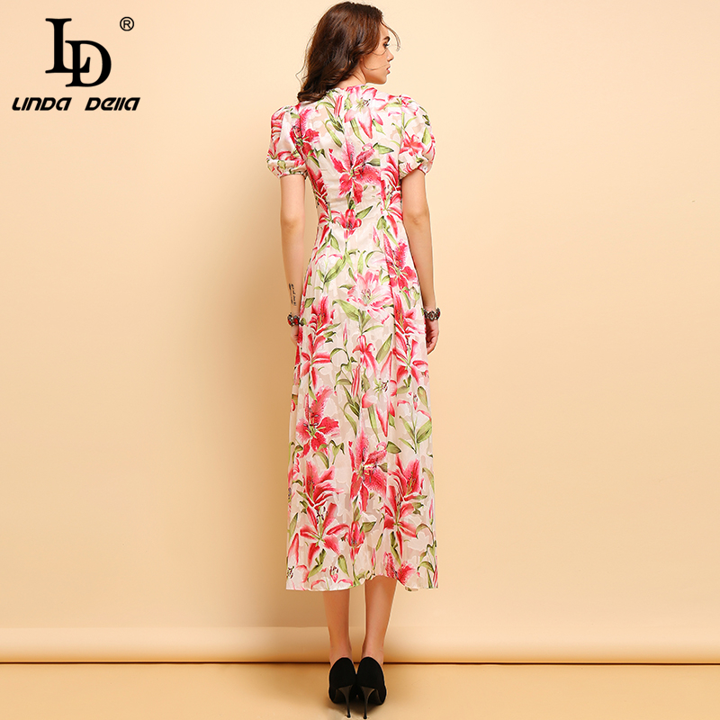 LD LINDA DELLA New Summer Fashion Dress Women 39 s Lantern Sleeve Floral Printed Collect Waist Elegant Casual Holiday Long Dresses in Dresses from Women 39 s Clothing