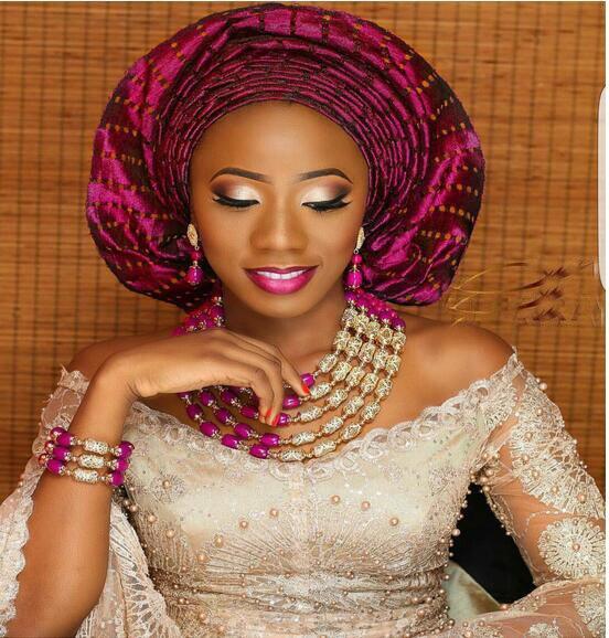 Incroyable Fuchsia Rose Mariage Nigérian Perles D'or Parures Mariées Africains Cadeau Collier Bracelet Boucles D'oreilles Bateau Libre WD958