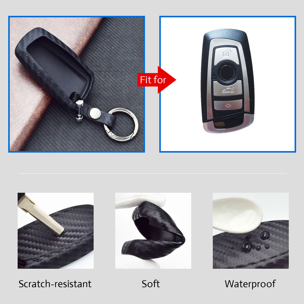 New Soft Protective Key Cover Carbon Fiber Scratchproof Luxury Case for BMW 5 7 Series 525 520 730li 740 SUV Smart Car FOB Keys