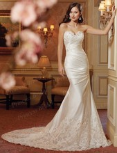Free Shipping Glamorous Trumpet Sweetheart Corset Back Court Train Satin Wedding Gowns Bride With Appliques ST11414
