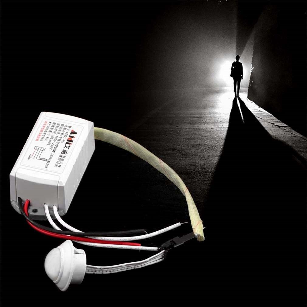Capteur de corps infrarouge intelligent, 220 v IR, lumière de commutation pour lampe, interrupteur de détection de mouvement réglable PIR |