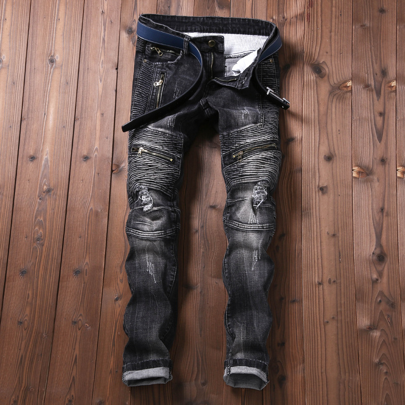 New Mens Jean Design Balmai Biker Jeans Slim Stretch Straight Denim Pants Jeans Ripped Elastic Skinny Mens Motorcycle Men Jeans 2017 fashion patch jeans men slim skinny stretch jeans ripped denim blue pants new famous brand mens elastic jeans f701