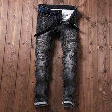 New Mens Jean Design Balmai Biker Jeans Slim Stretch Straight Denim Pants Jeans Ripped Elastic Skinny Mens Motorcycle Men Jeans