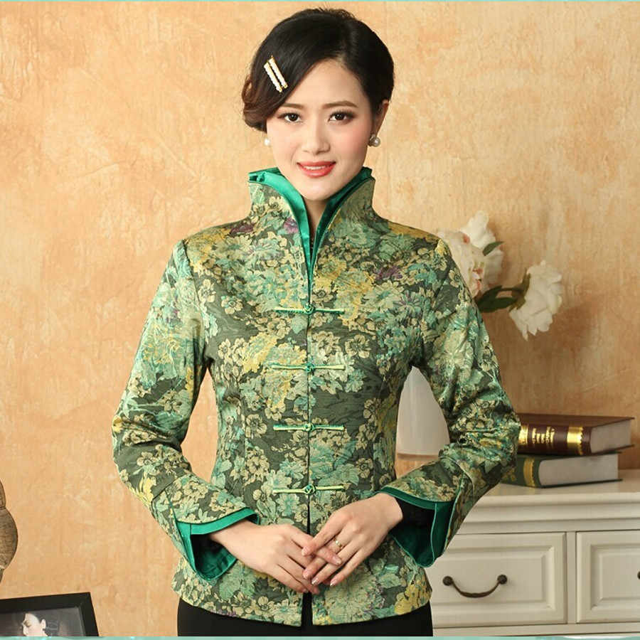 Light Green Traditional Chinese style Women's V-Neck Jacket Coat Flowers Size S M L XL XXL XXXL Free Shipping