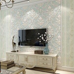 Image 2 - Distressed Tapete für Wände 3 d Vintage Vlies Tapete Rollen Teal Blau Damast Wand Papier Blumen für Schlafzimmer 10m