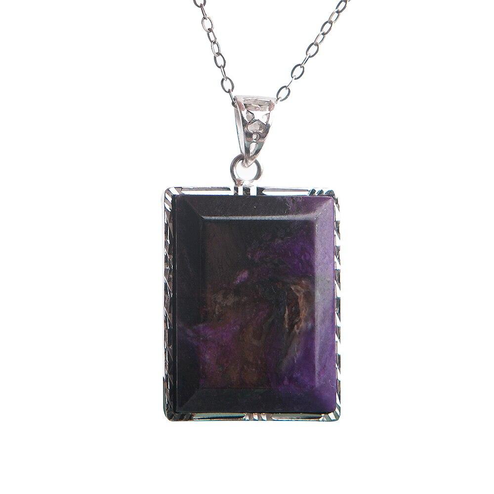 2018 hommes femmes fabrication de bijoux naturel Sugilite gemme cristal pierre Rectangle femme argent pendentifs collier