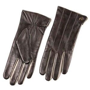 Image 4 - Mode Vrouwen Schapenvacht Handschoenen Hoge Kwaliteit Lederen Vijf Vinger Twee Tone Elegante Winter Dame Rijden Handschoen EL031NR