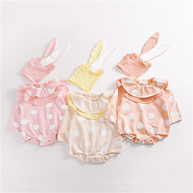 Hot Baby Girl Autumn Romper Dot Pom Pom Romper Child Cute Ruffles Outfits Matching Rabbit Ear Hat Baby Girl Long Sleeve Clothes 3pcs set cute newborn baby girl clothes 2017 worth the wait baby bodysuit romper ruffles tutu skirted shorts headband outfits
