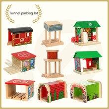 Деревянная железная дорога сцена трек аксессуары совместимы с небольшой железной дороги различные сцены головоломки Забавные игрушки для детей
