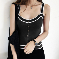 Women Sexy Button Front Ribbed Tank Top Contrast Trim Ribbed Hem Knitted Crop Tank Top