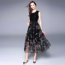 Women dress Print Sleeveless Patchwork Lace Elegant Dresses Black 120