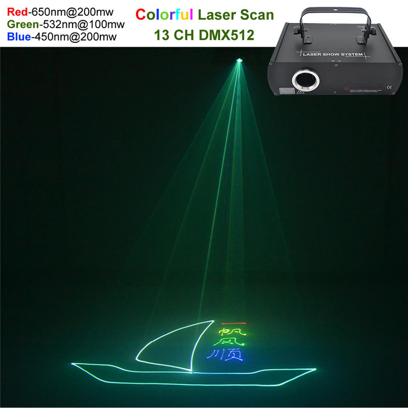 AUCD Red Green Blue Beam Animation Laser Professional DMX Projector 500mW Stage Lighting DJ Show Club Party Scanner Light 500RGB ...