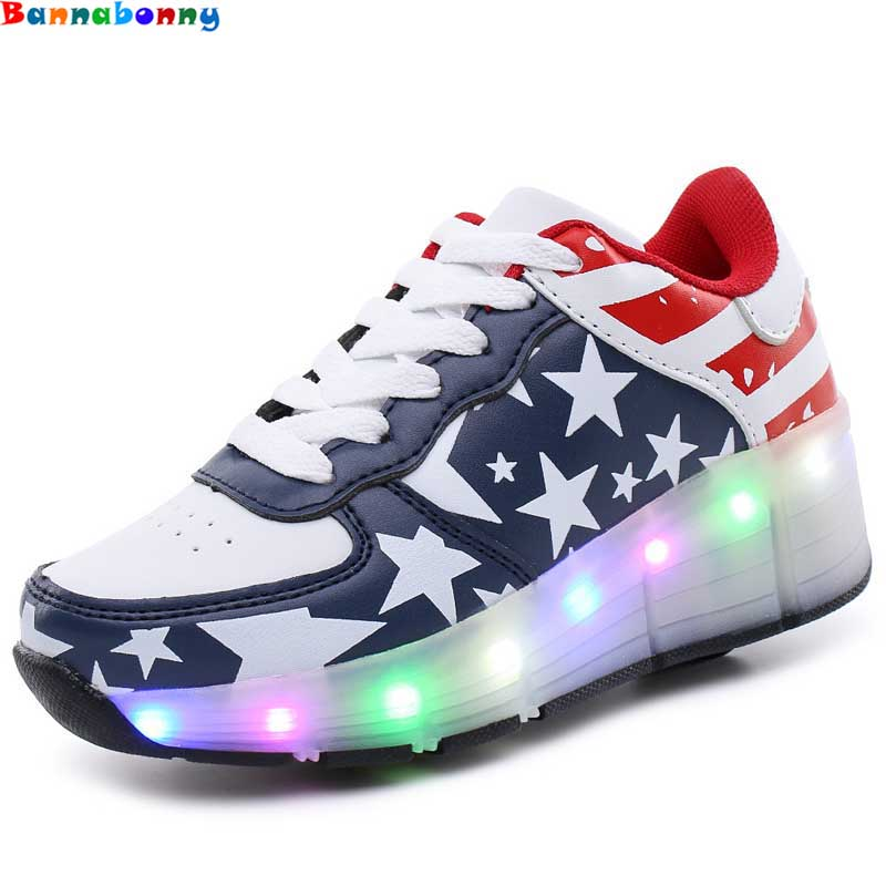 Children Shoes With Light With wheels Skate Boys And Girls Casual LED Shoes For Kids 2018 LED Light Up 4 Colors Kids Shoes 28-38