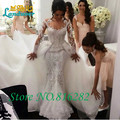 Роскошные Русалка Свадебные платья Милая Бисером Кристалл Зашнуровать Свадебные Платья 2016 со Съемным Длинным Trian Свадебные платья