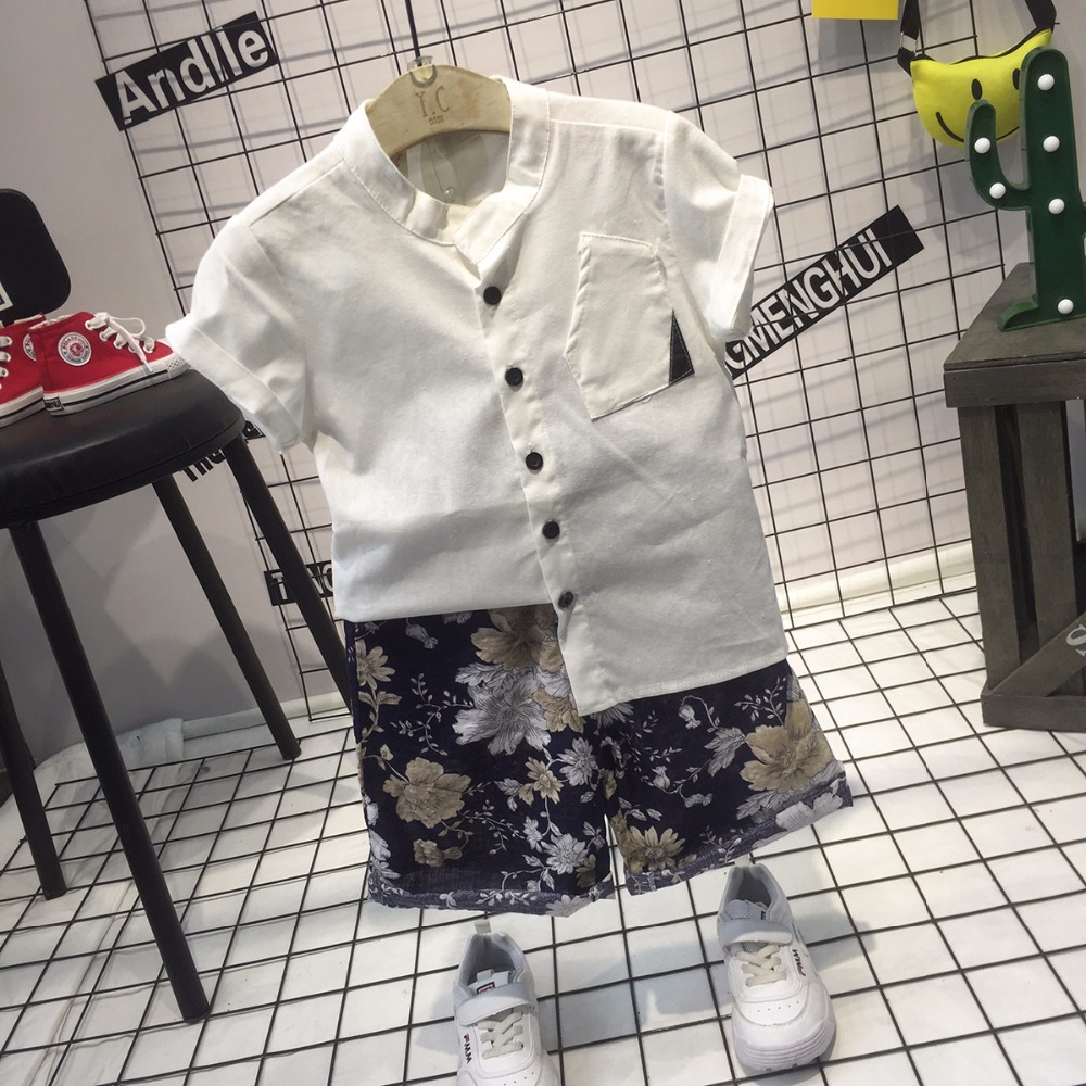 Wholesale 2018 Summer boys clothes sets solid kids cotton shirt + shorts two pcs kids suits fashion clothes