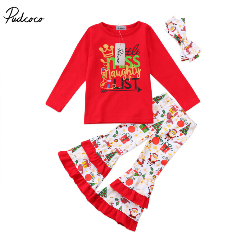 US Stock Baby Kids Girl Cotton Tops Minnie Bell-Bottom Trousers Clothes Outfits