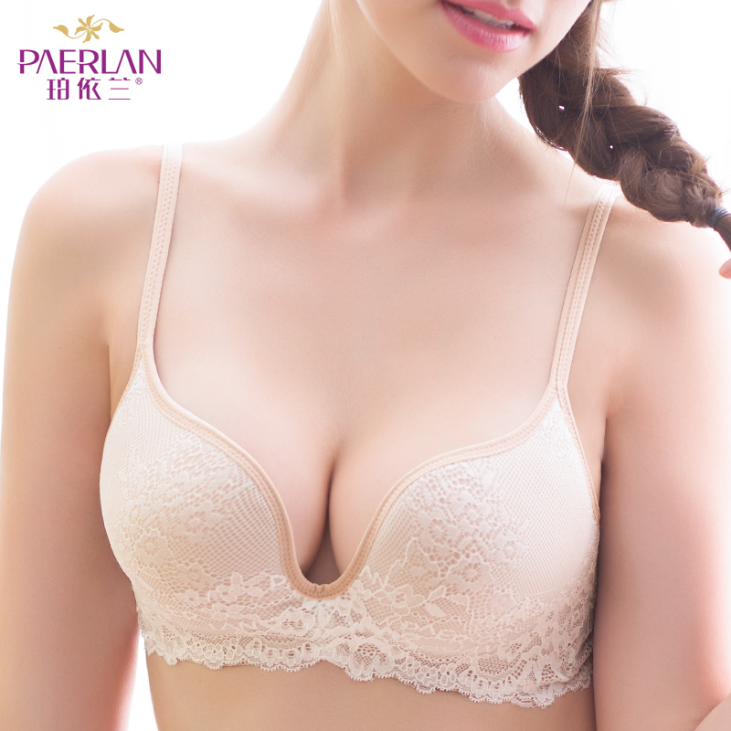 PAERLAN Seamless Wire Free lace bra small breasts Push Up One - Piece  Back Closure Tow Hook - and - eye underwear Women Cup