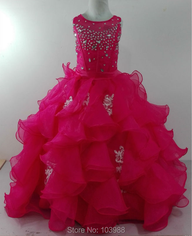 Nye vestido de novia Flower Girl Kjoler Ball Gown Party Sideant Communion Kids / Børn Prinsesse Kjole til Wedding Bride