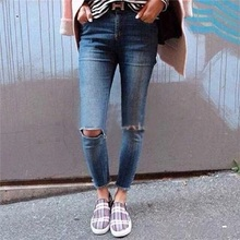 Summer fresh new women fashion ripped broken hole ankle length denim pencil pants female high waist