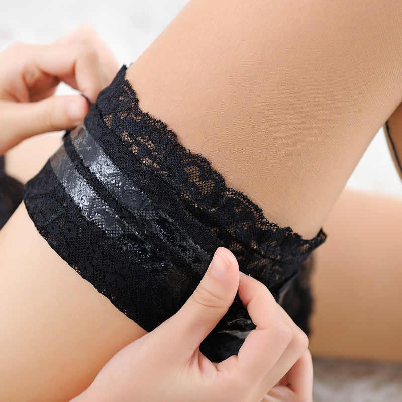 82dcaf3fa10 Quality Sexy Opaque Wide Lace Top Back Seam Thigh High Stockings Hold Ups  With Silicone Bands