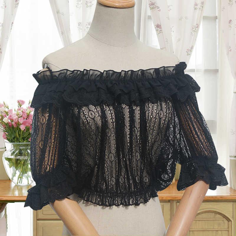 Thời trang Mùa Hè phụ nữ Thường Dễ Thương Lolita Áo Sơ Mi Ngắn Retro Flounced Ren Áo Cánh Nữ lolita đáy áo sơ mi tops