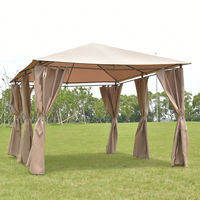 Goplus открытый 10 'X13 'Gazebo навес палатка укрытие тент сталь рамки сад палатка с тентом для вечеринок с стен коричневый OP3118CF