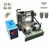 300W spindle Wood Router 3020 Diy mini CNC machine with working area 20x30x5cm Pcb engraver with drilling cutter vise collet