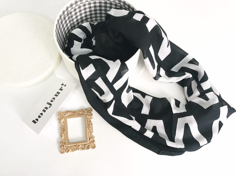 Big Discount High Quality Designer Brand Fashion Black and White Infinity Scarf Modal and Cashmere Scarves Tube scarf(China (Mainland))