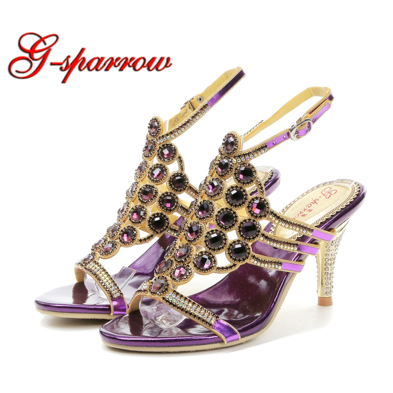 GS-L032 Summer T-Straps Crystal Stiletto Heel Summer Sandals High Heel Wedding Party Heels Women Formal Dress Shoes Purple Color summer alluring spaghetti straps sleeveless spliced solid color dress for women