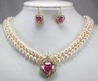 Gros choker ensembles de bijoux pour femmes mot Naturel Beaux New 2 rangée blanc perle collier coeur rose zircon pendentif boucle d'oreille ensemble