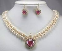 wholesale choker jewelry sets for women word Natural Fine New 2 row white pearl necklace heart pink zircon pendant earring set