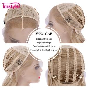 Image 5 - Imstyle 蜂蜜ブロンド合成レースの前部かつら波状のかつら耐熱繊維グルーレス自然な髪コスプレウィッグ