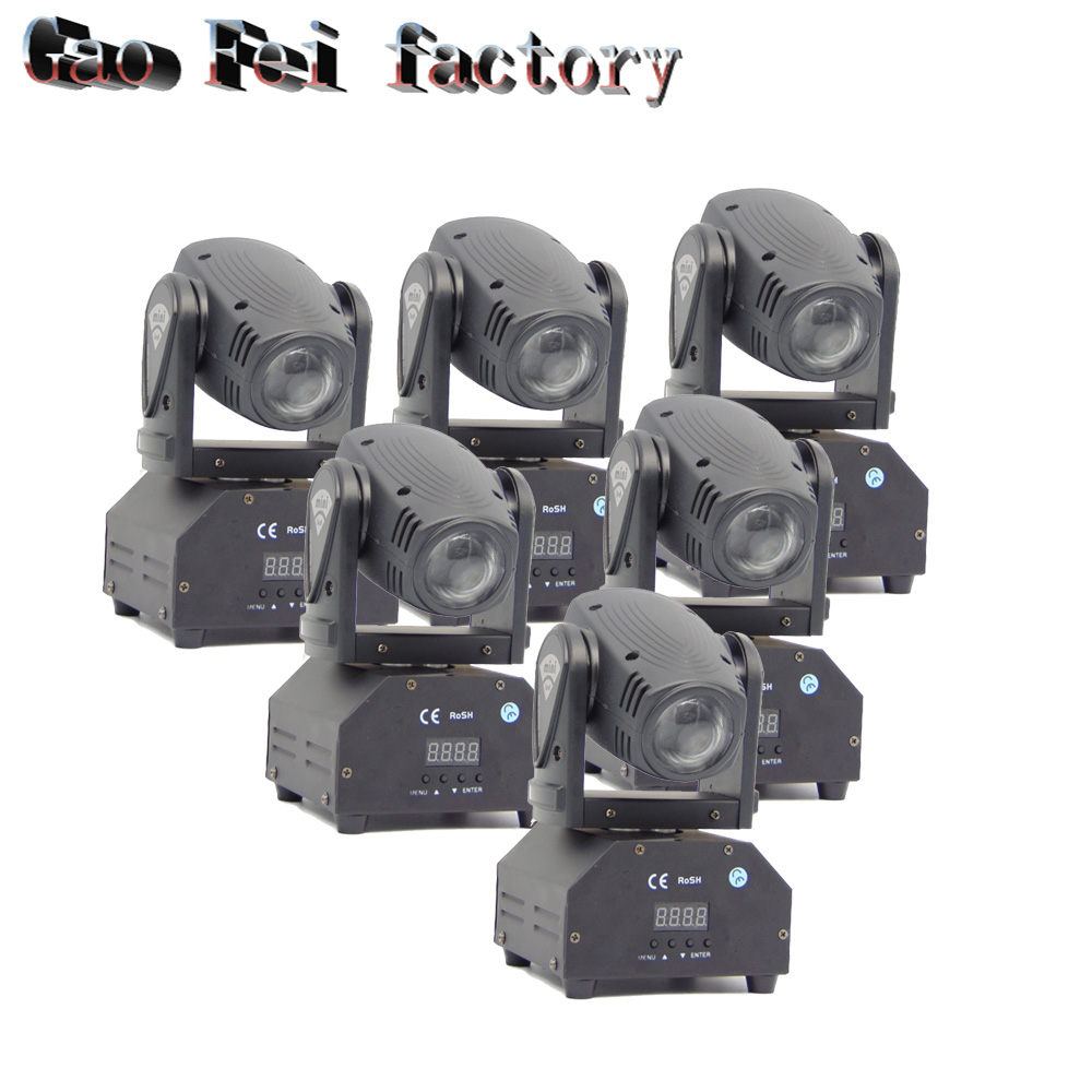 все цены на 6pcs/lot Led 10w Moving Head Spot Effect Light Mini Lighting party DJ KTV Disco Beam Lights RGBW 10W LED beam stage equipment онлайн