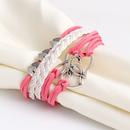 Leather Charm Bracelet - pink white hearts
