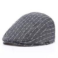VORON 2017 New Cotton Linen Striped Beret Hats Black Gray Blue Unisex Spring Summer Flat Caps
