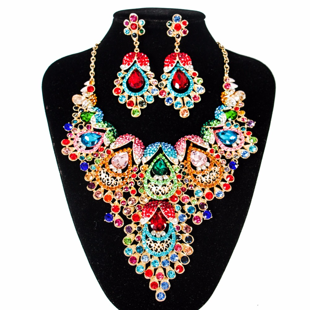 2018 LAN PALACE bridal jewelry set multi color engagement necklace and earrings for party  free shipping2018 LAN PALACE bridal jewelry set multi color engagement necklace and earrings for party  free shipping