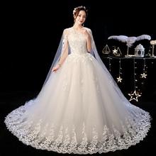 Mrs Win düğün elbisesi 2020 yeni zarif mahkemesi tren dantel nakış prenses Vintage düğün elbisesi e artı boyutu gelinlikler F