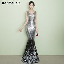 BANVASAC 2018 Elegant V Neck Sequined Mermaid Long Evening Dresses Party Flowers Pattern Tank Backless Prom Gowns