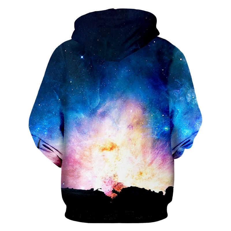 Ogкб Бесплатная доставка толстовки на молнии Новые женские 3d принт Синий Galaxy свитер с космосом толстовка хип хоп с длинным рукавом куртки с капюшоном
