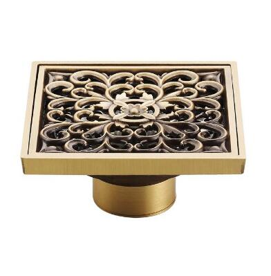 10x10cm Drainer Bathroom Copper Deodorant Square Floor Drain Strainer Cover Sink Grate Waste Antique Bronze Free Shipping 4-inch free shipping antique bronze bath craved floor drain bath washing drainer