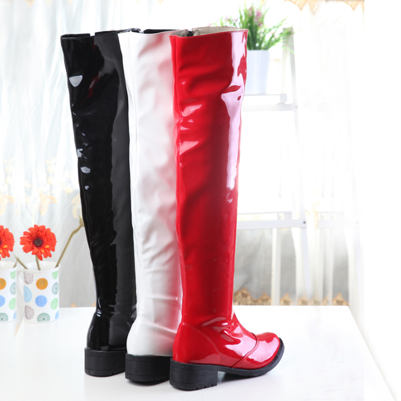 PQECFS Big Size 34-44 High Quality Spring & Autumn Women Sexy Patent Leather Pole Dancing Med Heels Thigh High Boots 3 Colors