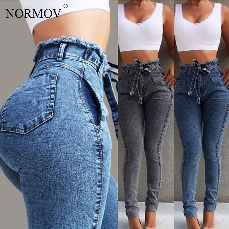 NORMOV High Waist Jeans Woman Denim Skinny Streetwear Black Ladies Plus Size Jeans 5xl Boyfriend Vintage Jeans