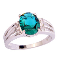 Unisex Jewelry Vintage Style Oval Cut Green & White Sapphire Fashion 925 Silver Ring Size 6 7 8 9 10 Wholesale Free Shipping