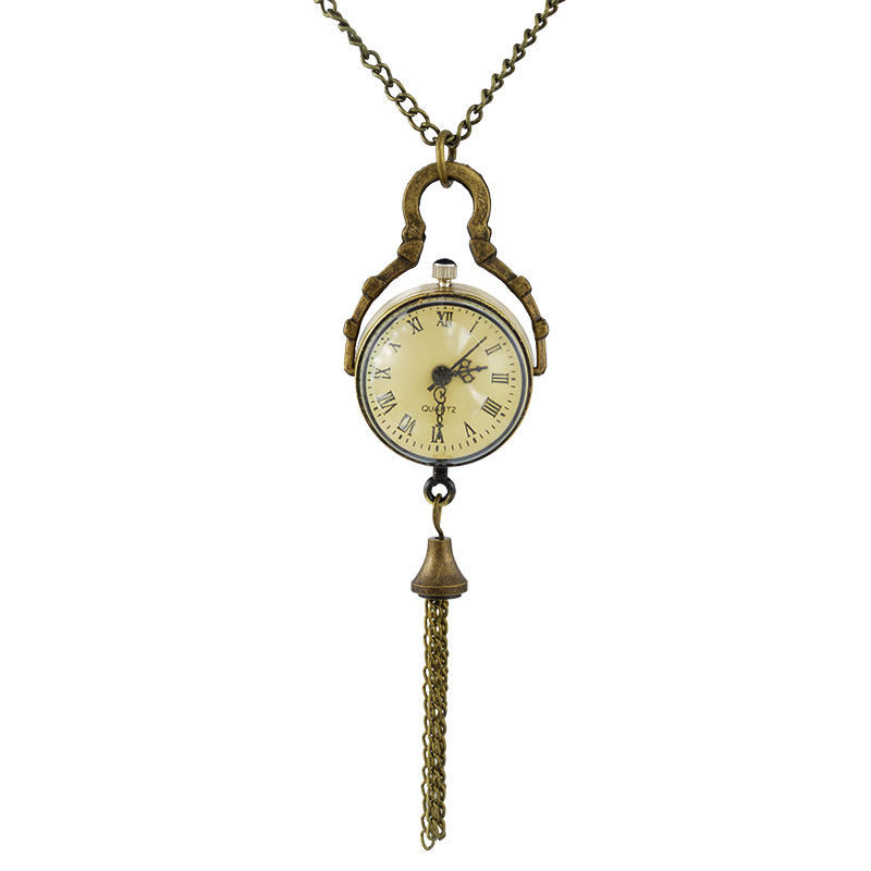 FUNIQUE Crystal Ball Pocket Watches For Women Retro Bronze Tone Necklace Chain Quartz Pocket Watch Clock