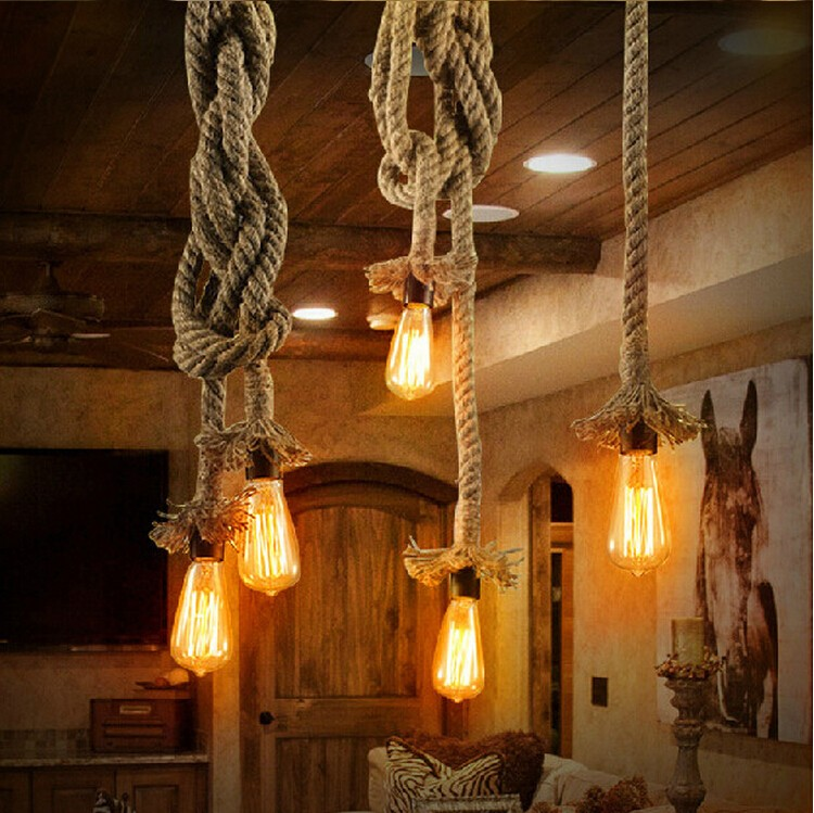 Vintage Rope Pendant Lights Lamp Loft Creative Personality Industrial Lamp Edison Bulb American Style For Living Room decoration vintage rope pendant lights loft creative industrial lamp e27 edison bulb american style for restaurant bar home decoration led