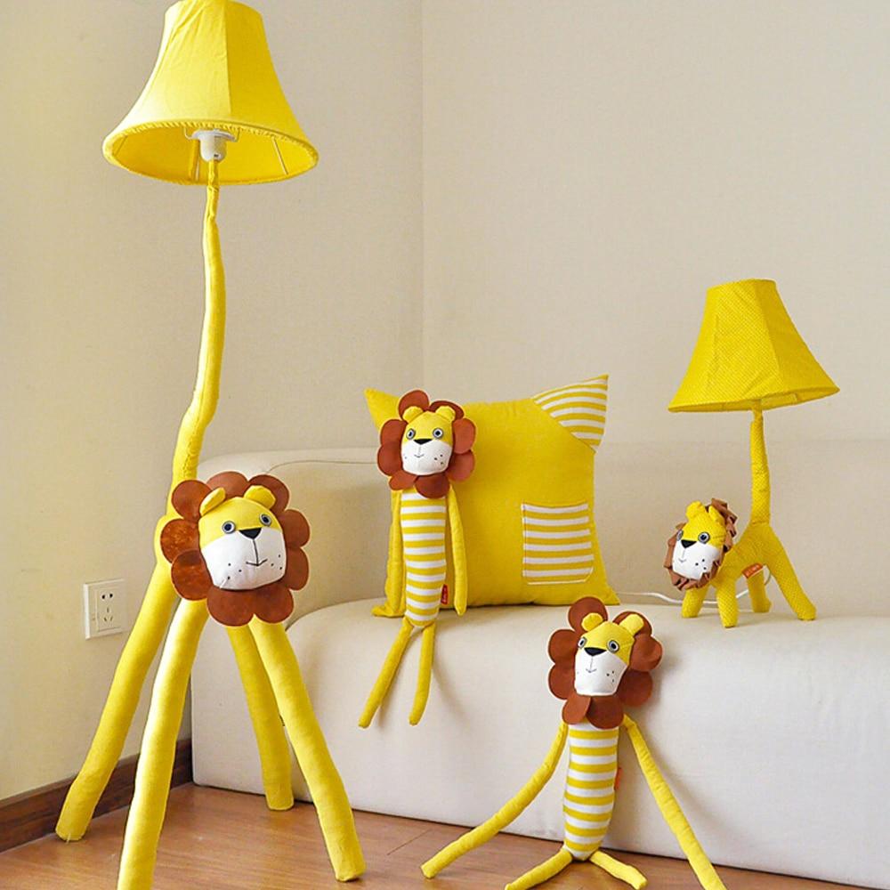 ФОТО High Quality Led Yellow Lion Kids Floor Lamp Cartoon Decor Standing Lamps 110V/220V E27 Fabric European Lighting Floor Lamps LED