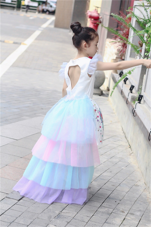 Christmas Fluffy Girl Princess Unicorn Dress Gorgeous Backless Long Tail Wedding Dress Kids  Halloween Unicorn Cosplay Costume